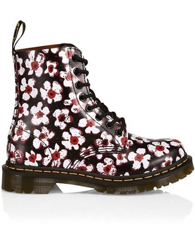 Dr. Martens-1460 PASCAL BLACK+RED PANSY FA-BLACK+RED