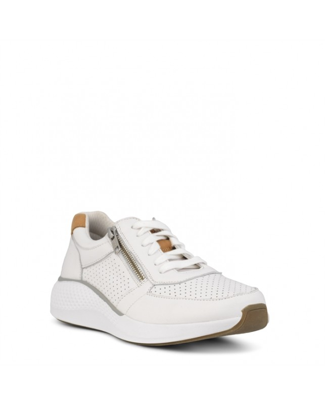 GREEN COMFORT-DOLPHIN SNEAKER W. LACE AND ZI-002 WHITE