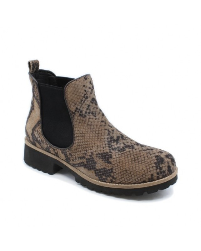 GREEN COMFORT-HAPPY WALKING CHELSEA BOOT-TAUPE/SNAKE PRINT